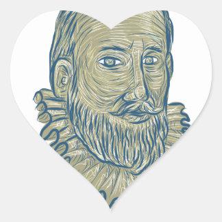 Dibujo del busto de sir Walter Raleigh Pegatina En Forma De Corazón