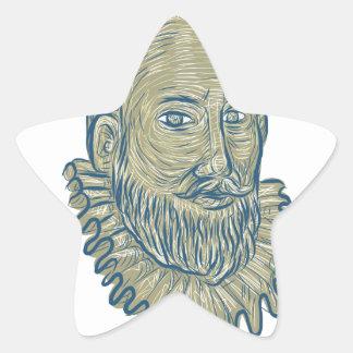 Dibujo del busto de sir Walter Raleigh Pegatina En Forma De Estrella