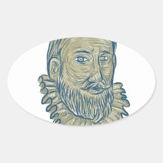 Dibujo del busto de sir Walter Raleigh Pegatina Ovalada
