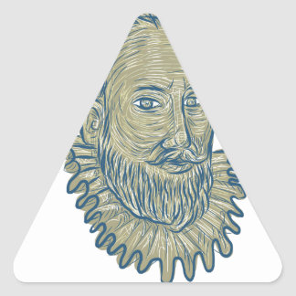 Dibujo del busto de sir Walter Raleigh Pegatina Triangular