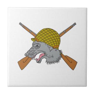 Dibujo del casco de la guerra mundial de la cabeza azulejo cuadrado pequeño