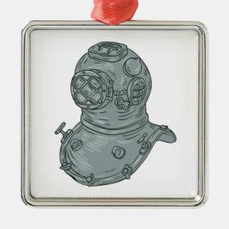 Dibujo del casco del salto de la escuela vieja adorno navideño cuadrado de metal