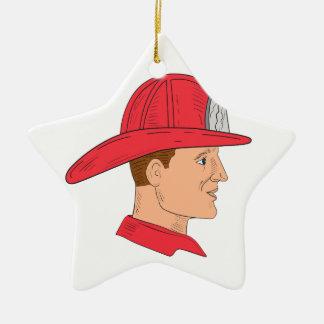 Dibujo del casco del vintage del bombero del adorno navideño de cerámica en forma de estrella