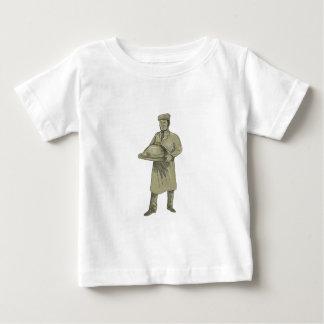 Dibujo del disco de la comida de la porción del camiseta de bebé