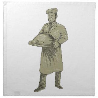 Dibujo del disco de la comida de la porción del servilleta de tela