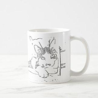 Dibujo del gato taza de café