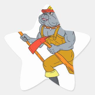 Dibujo del hacha del fuego de Pike poste del Pegatina En Forma De Estrella