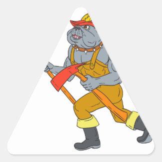 Dibujo del hacha del fuego de Pike poste del Pegatina Triangular