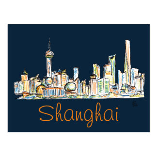 Dibujo del horizonte de Shangai Postal