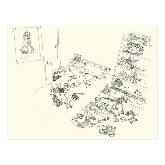 Dibujo del humor de la familia del lío del postal