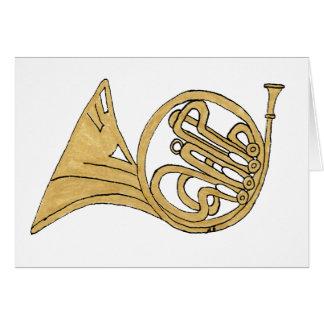 Dibujo del instrumento musical de la trompa tarjeta de felicitación