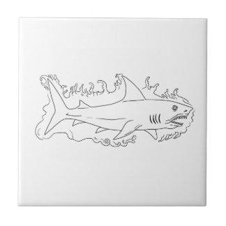 Dibujo del lado del agua del tiburón azulejo cuadrado pequeño