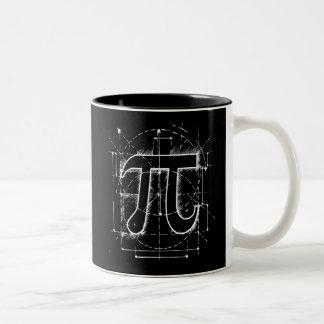 Dibujo del número del pi taza de dos tonos