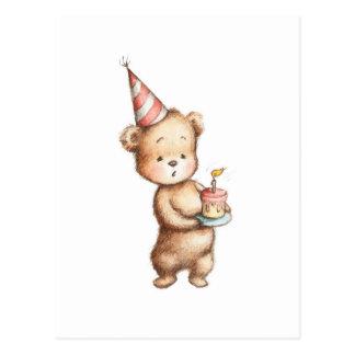 Dibujo del oso de peluche con la torta de postal