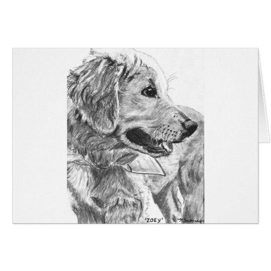 Dibujo del perrito del golden retriever tarjeta de felicitación