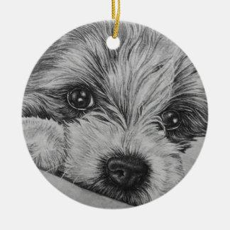 Dibujo del perro de perrito del arte animal lindo adorno de cerámica