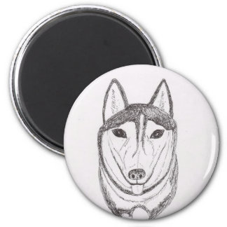 Dibujo del perro imán redondo 5 cm