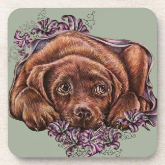 Dibujo del perro y de los lirios de Brown Labrador Posavasos