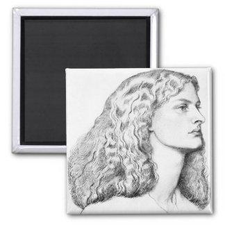 Dibujo del retrato de la mujer imanes de nevera
