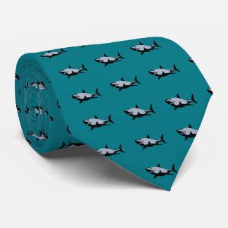 Dibujo del tiburón de la corbata tejada negra y