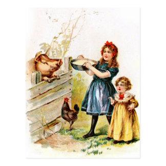 Dibujo del vintage: Alimentación del cerdo Postal