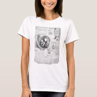 Dibujo del vintage de un feto en el útero 1 camiseta