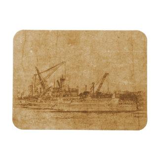 Dibujo del vintage del puerto marítimo imán