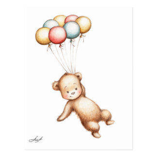 Dibujo del vuelo del oso de peluche con los globos postal