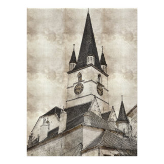 Dibujo evangélico de la torre de iglesia comunicados personalizados