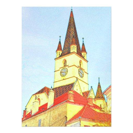 Dibujo evangélico de la torre de iglesia invitación personalizada
