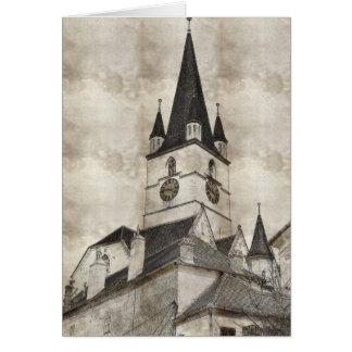 Dibujo evangélico de la torre de iglesia tarjeton
