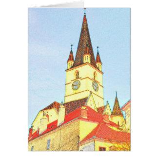 Dibujo evangélico de la torre de iglesia tarjetón