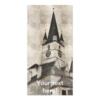 Dibujo evangélico de la torre de iglesia tarjetas con fotos personalizadas