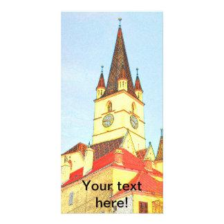 Dibujo evangélico de la torre de iglesia tarjeta personal con foto