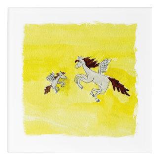 Dibujo infantil de la acuarela con los caballos impresión acrílica
