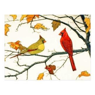 Dibujo japonés del vintage, cardenales en una rama postal