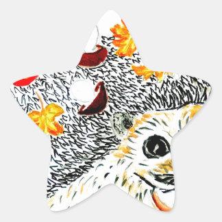 Dibujo lindo del erizo pegatina en forma de estrella