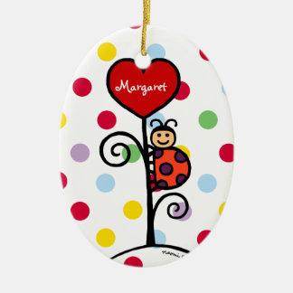 Dibujo lindo personalizado de la mariquita ornaments para arbol de navidad