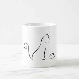 Dibujo lineal de gato con la taza