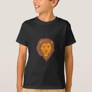 Dibujo masculino de la cabeza del gato grande del camiseta