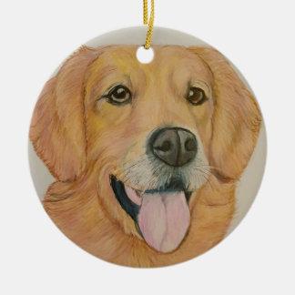 Dibujo original del golden retriever adorno navideño redondo de cerámica