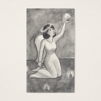 Dibujo original único hermoso del arte del ángel tarjeta de negocios