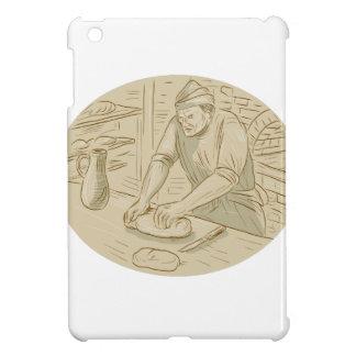 Dibujo oval de amasamiento de la pasta de pan del