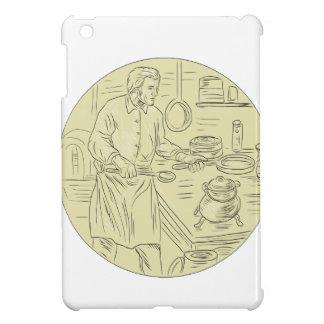 Dibujo oval de la cocina medieval del cocinero
