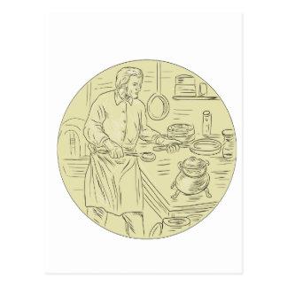Dibujo oval de la cocina medieval del cocinero postal