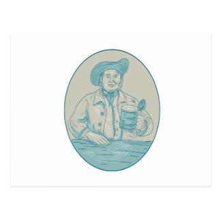 Dibujo oval de la jarra de cerveza del bebedor de postal