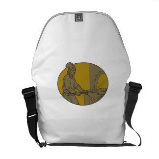 Dibujo oval del panadero del pan del horno de bolsas de mensajeria