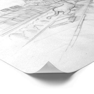 Dibujo parisiense del tejado con el viaje Eiffel Póster