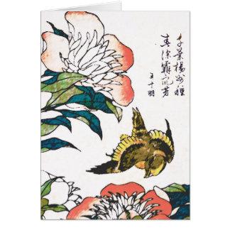 Dibujo, Peonies y gorrión japoneses del vintage Tarjeta Pequeña