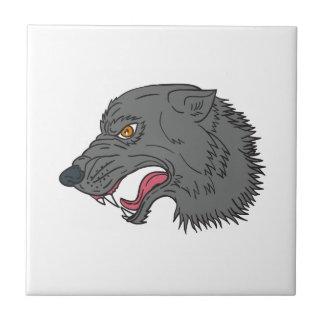 Dibujo principal el gruñir del lobo gris azulejo cuadrado pequeño